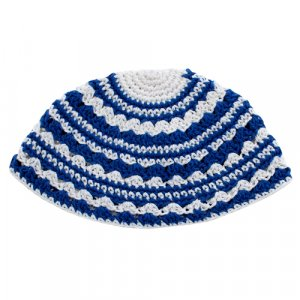 Frik Kippah with White and Royal Blue Stripes