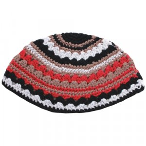 Frik Kippah in Brown and Red Stripes