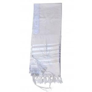 Talitnia Gilboa Light Weight Non Slip Tallit Wool Tallit Prayer Shawl - Silver Strips