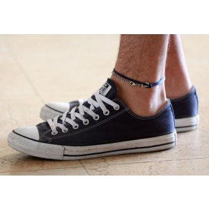 Galis Blue Wax Wire Three Layer Men's Anklet - Anchor Element