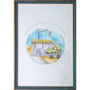 YehuditsArt Whimsical Handmade Wall Decor - Building the Third Temple