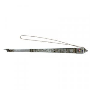 Pewter Torah Pointer with Jerusalem Design and Breastplate Image