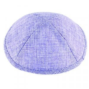 Violet Linen Flat Kippah with Pin Spot