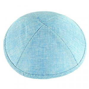 Light Blue Linen Kippah - Crosshatch Stitch