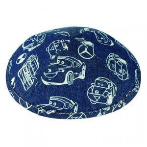 Blue and White Cotton Fabric Kippah with Car print