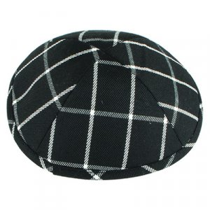 Black and White Cotton Fabric Kippah - Checkered