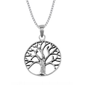 Tree of Life Necklace Pendant in Sterling Silver with Chain