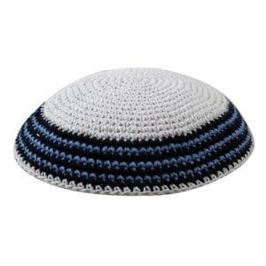 White Knitted Cotton Kippah with Blue and Black Border Stripes