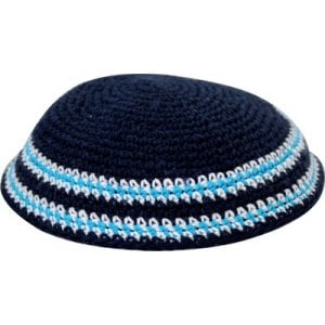 Dark Blue Knitted Kippah with Light Blue and White Border Stripes