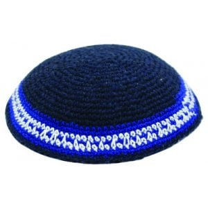 Blue Knitted Kippah with Contrasting Blue and White Stripes
