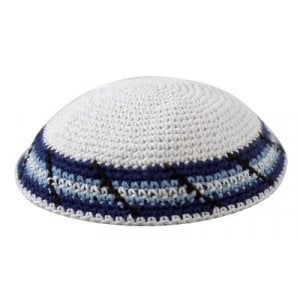 White Knitted Kippah with Light Blue Stripes