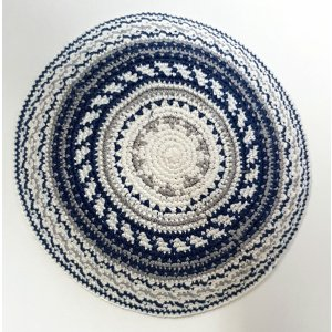 White DMC Knitted Kippah with Gray Design