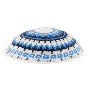 White DMC Knitted Kippah with Blue, Black and White Design