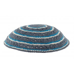 Gray DMC Knitted Kippah with Light Blue and White Circular Design