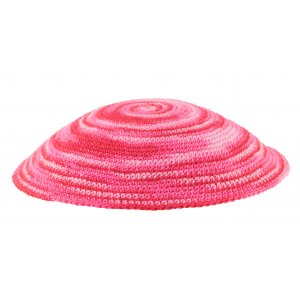 Candy Pink DMC Knitted Kippah with Swirling Design