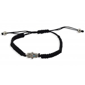 Black Braided String Hamsa Kabbalah Bracelet