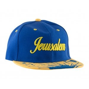 Baseball Cap with Jerusalem and Paint Splatter Design - Blue & Gold