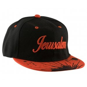 Baseball Cap with Jerusalem and Paint Splatter Design - Black & Red