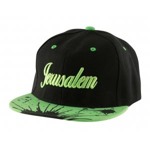 Baseball Cap with Jerusalem and Paint Splatter Design - Black & Green