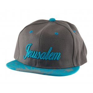 Baseball Cap with Jerusalem and Paint Splatter Design - Gray & Turquoise