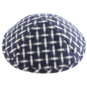 Blue and White Woven Design Cloth Kippah