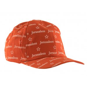Baseball Cap with Jerusalem and Star of David Design - Red