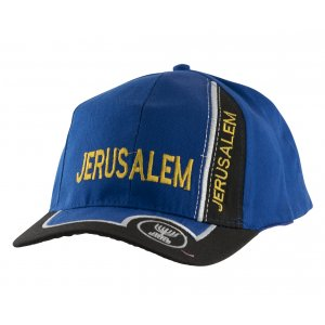 Baseball Cap with Jerusalem and Menorah Design - Royal Blue