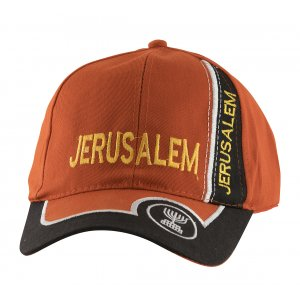 Baseball Cap with Jerusalem and Menorah Design - Red