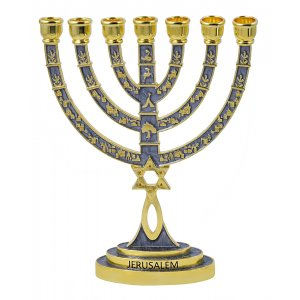 Messianic Seal Gold Tone Seven Branch Menorah Grafted Star of David - Gray
