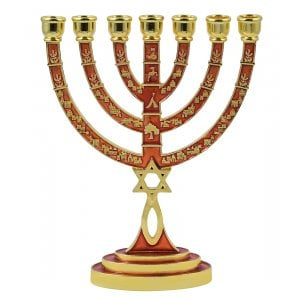 Messianic Seal Gold Tone Seven Branch Menorah Grafted Star of David - Red