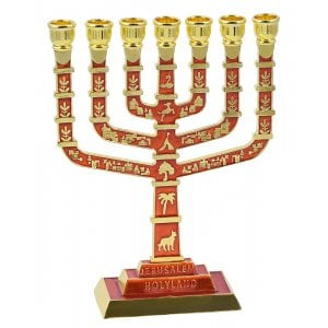 7 Branch Jerusalem Menorah on Square Base with Gold Judaic Motifs - Red