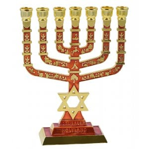 7-Branch Menorah on Square Base with Gold Images and Star of David - Red