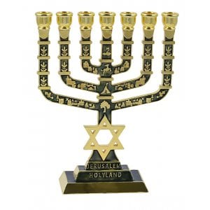 7 Branch Menorah on Square Base with Gold Images and Star of David - Dark Green