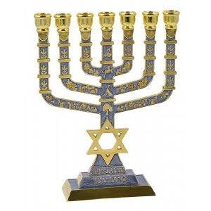 7-Branch Menorah on Square Base with Gold Images and Star of David - Grey