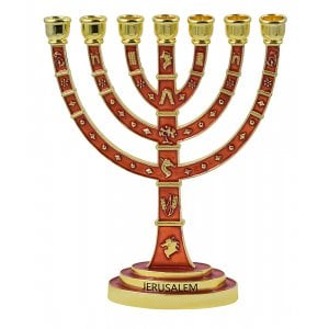 7-Branch Enamel Plated Jerusalem Menorah with Judaic Decorations - Red