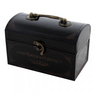 Dark Brown Etrog Box with Faux Leather Finish and Hebrew Wording