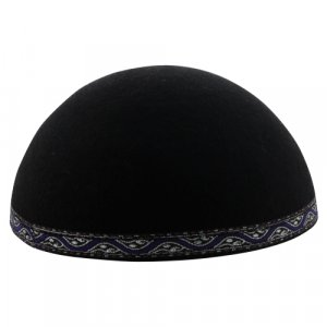 Yemenite Kippah with Purple and Silver Border