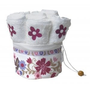Dorit Judaica Six Flower Hand Washing Towels in Floral Decorated Holder