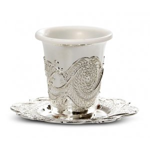 Kiddush Cup Ornate Design with Plate and Plastic Insert