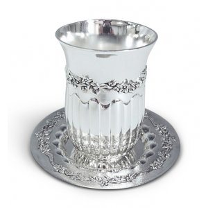 Silver Plated Kiddush Cup and Tray with Ribbed Flower Design