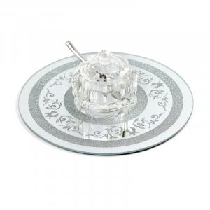Crystal Honey Dish with Lid and Spoon on Circular Decorative Crushed Glass Tray