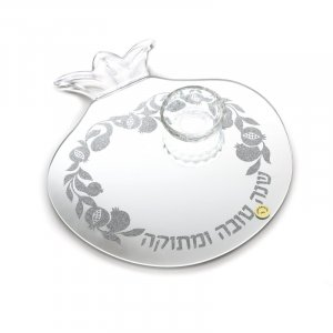 Pomegranate Shaped Crystal Glass Tray with Honey Dish - Crushed Glass