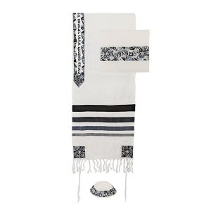 Yair Emanuel Embroidered Mosaic Stars of David Tallit Set - Black and Gray