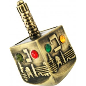 Bronze Jerusalem design Dreidel with colored stones