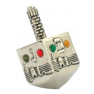 Nickel Jerusalem design Dreidel with colored stones