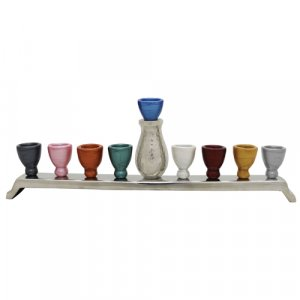 Colorful Cups Jug Design Chanukah Menorah - Hammered Aluminum