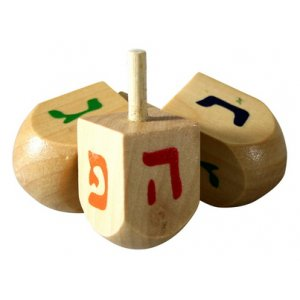 Wood Hanukkah Dreidels with Colorful letters