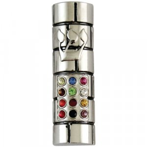 Nickel Plated Rounded Car Mezuzah - Colorful Breastplate Design