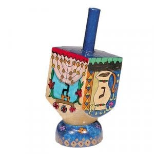 Yair Emanuel Hand Painted Wood Dreidel with Stand Small - Chanukah Images