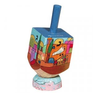 Yair Emanuel Hand Painted Wood Dreidel on Stand Small - Jerusalem Dove of Peace